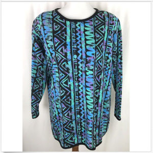 Vtg 80s Pull Over Tunic Top Neon Print M/L